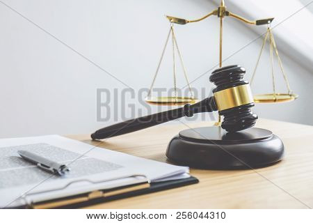 Scales Of Justice And Gavel On Sounding Block, Object And Law Book To Working With Judge Agreement I