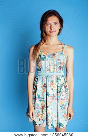 Young Pretty Adorable Woman Close Up Like Doll Posing, Natural Makeup Emotional Gesturing
