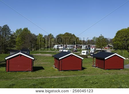 Uppsala, Sweden On May 10. View Of Cabins, Lodges In Fyrishov Camping On May 10, 2018 In Uppsala, Sw