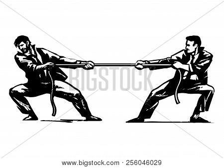 Tug Of War. Two Businessmen Are Pulling Rope. Business Competition Concept. Sketch Style Hand Drawn