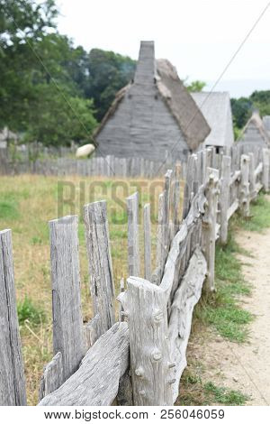 Wooden Fence Lining The Colonial Village In Plimoth Plantation.