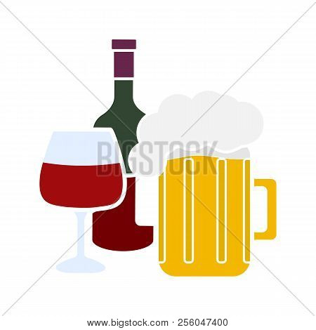 Alcohol Drinks Glyph Color Icon. Wine Bottle, Wineglass And Beer Mug With Foam. Alcoholic Beverages.