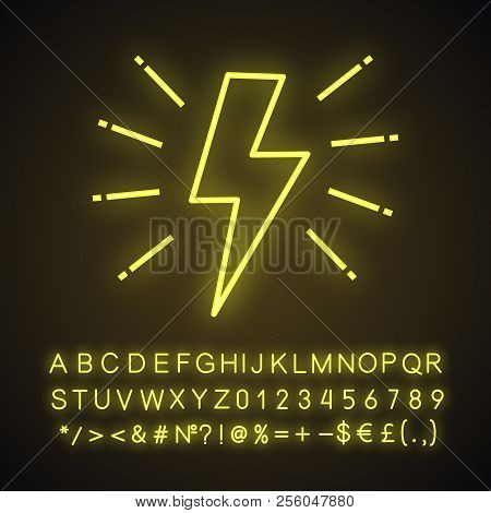 Lightning Bolt Neon Light Icon. Electricity Sign. Speed And Power. Glowing Sign With Alphabet, Numbe