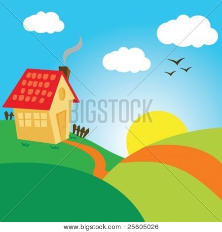cartoon drawing of a village landscape with house on a hill