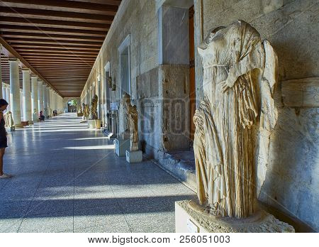 Athens, Greece - July 1, 2018. Sculpture Of Aphrodite In The Porch Of The Stoa Of Attalos Building A