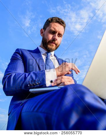 Work Is His Lifestyle. Man With Laptop Surfing Internet Bottom View. Entrepreneur Find Opportunity T