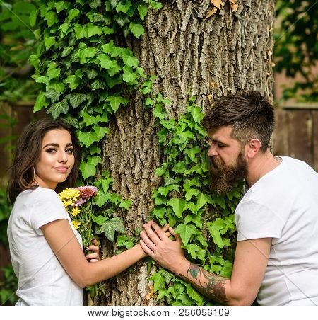 Couple In Love Romantic Date Walk Nature Tree Background. Love Relations Romantic Feelings. Man Bear