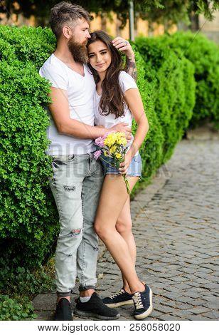 Man Bearded Hipster Hugs Gorgeous Girlfriend. Great Date Tips. Love Relations Romantic Feelings. Par