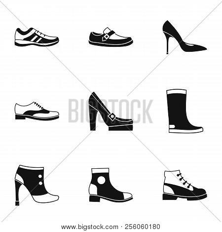 Footgear Icons Set. Simple Illustration Of 9 Footgear Icons For Web