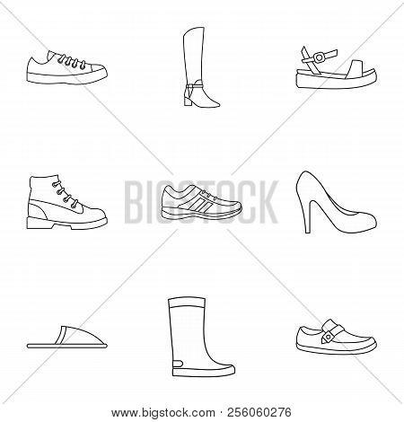 Footgear Icons Set. Outline Illustration Of 9 Footgear Icons For Web