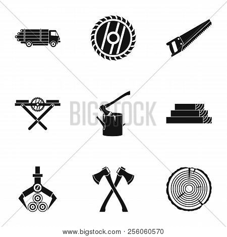 Sawing Woods Icons Set. Simple Illustration Of 9 Sawing Woods Icons For Web