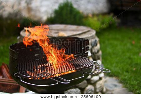 flaming barbecue