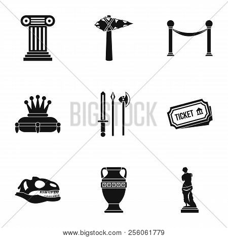 Historical Museum Icons Set. Simple Illustration Of 9 Historical Museum Icons For Web