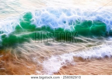Fractal Background Texture. A Bright Green Wave. White Foam On The Crest Of The Wave. The Wave Is Vi