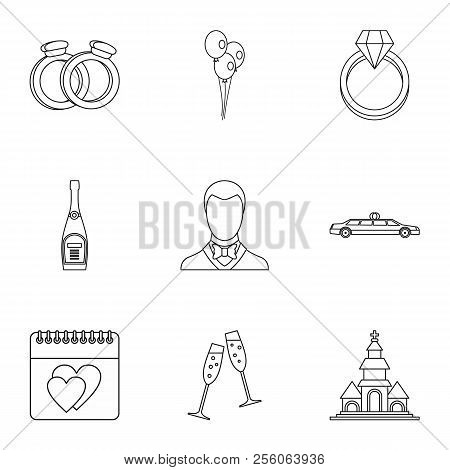 Marriage Ceremony Icons Set. Outline Illustration Of 9 Marriage Ceremony Icons For Web