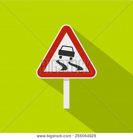 Slippery When Wet Road Sign Icon. Flat Illustration Of Slippery When Wet Road Sign Icon For Web Isol