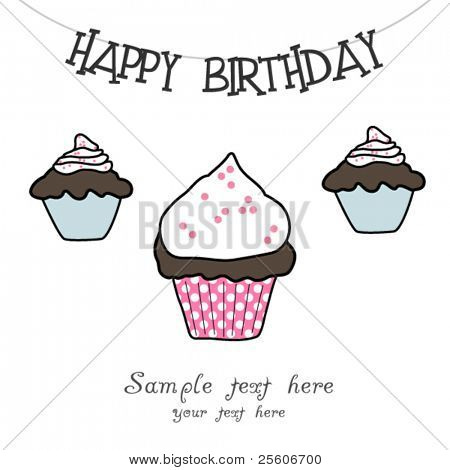 Beautiful vector Birthday muffin card