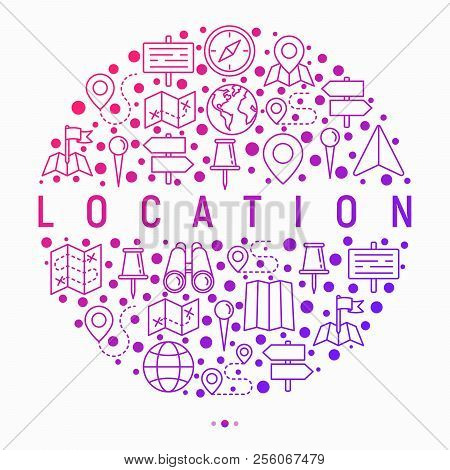 Location Concept In Circle With Thin Line Icons: Pin, Pointer, Direction, Route, Compass, Wall Needl
