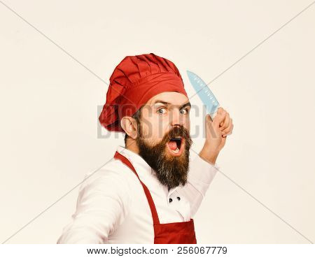 Cook with wild face in burgundy apron and chef hat. Chef pretends to throw sharp blue knife. Cooking equipment and cuisine concept. Man with beard in cook uniform isolated on white background. poster