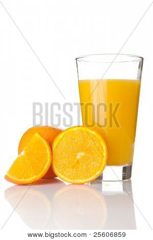 Fresh orange juice in a glass