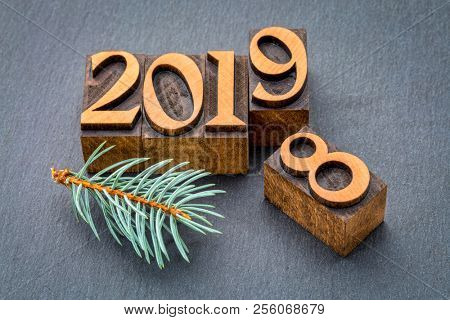 new year 2019 replacing the old year 2018 - letterpress wood type printing blocks on a slate stone