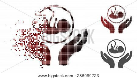 Embryo Care Hands Icon In Sparkle, Pixelated Halftone And Undamaged Entire Variants. Cells Are Arran