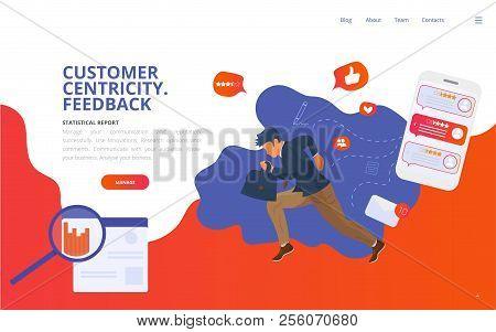 Customer Centricity Reputation Management Concept Vector Illustration. Customer Feedback Online Revi