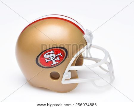 Irvine, California - August 30, 2018: Mini Collectable Football Helmet For The San Francisco 49ers O