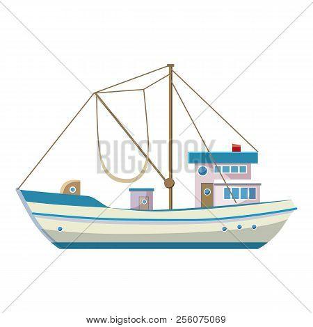 Fishing Boat Icon. Cartoon Illustration Of Fishing Boat Icon For Web Design