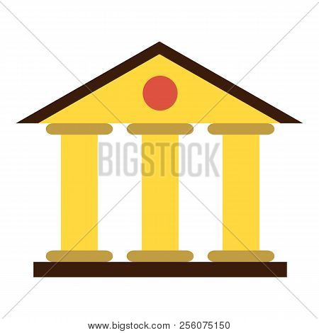 Justice Court Building Icon. Flat Illustration Of Justice Court Building Icon For Web Design