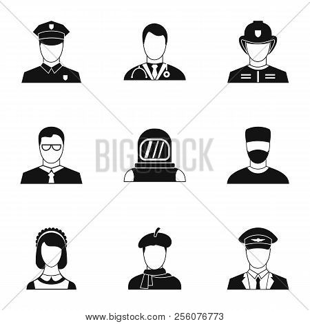 Occupation Icons Set. Simple Illustration Of 9 Occupation Icons For Web