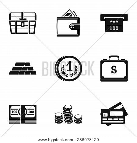 Monetary Resource Icons Set. Simple Illustration Of 9 Monetary Resource Icons For Web