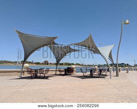 Awnings Shielding Recreation Area From Merciless Hot Sun At Salt River Lakeside In Tempe, Arizona; C