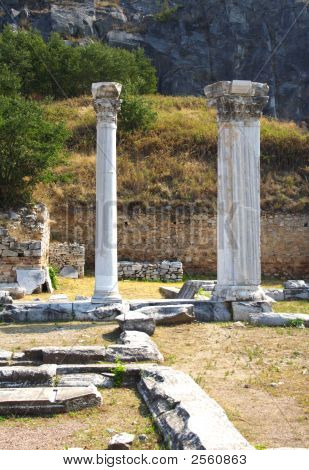 ruins and ancient columns in Philippe Greece poster