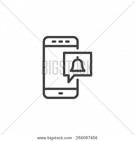 Mobile Message Notification Outline Icon. Linear Style Sign For Mobile Concept And Web Design. New C