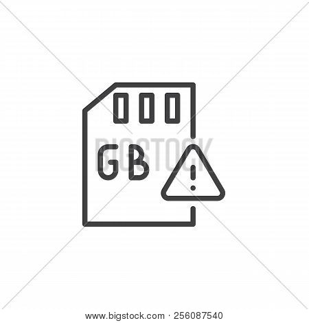 Gb Sd Card And Exclamation Mark Outline Icon. Linear Style Sign For Mobile Concept And Web Design. G