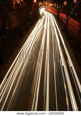 streaks of car lights on road