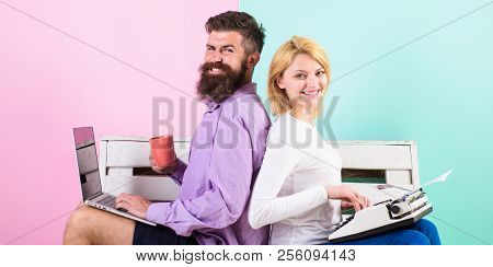 Original Authentic Attribute Writer. Couple Writers Use Different Gadgets Write Book. True Autor Aut