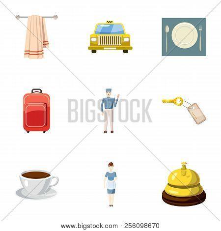 Hotel accommodation icons set. Cartoon illustration of 9 hotel accommodation icons for web poster