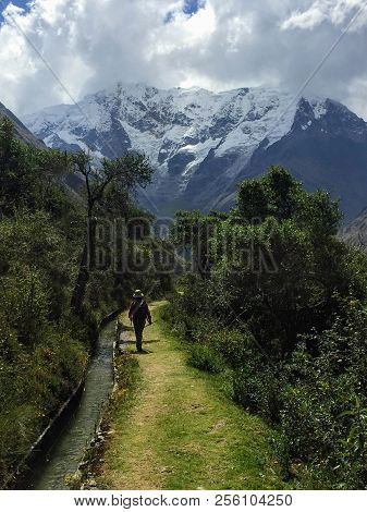 Hiking With An Inca Guide Through The Andes On The Salkantay Trek On The Way To Macchu Picchu, Peru