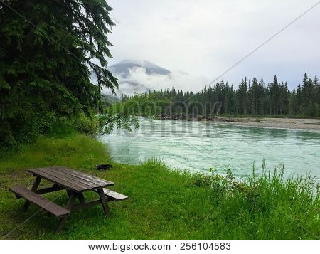 Desolate Peaceful Campground On The Fraser River Near Mount Robson In Beautiful British Columbia, Ca
