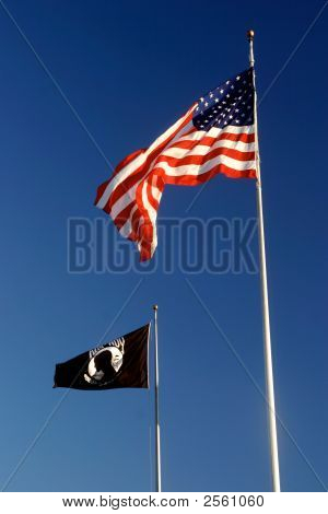 American and POW-MIA flags in the wind poster