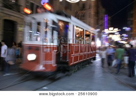 old red tram in taksim, istanbul, turkey poster
