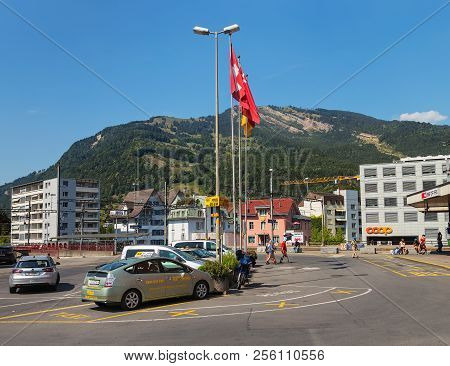 Arth, Switzerland - July 19, 2018: Buildings Of The Town Of Arth As Seen From Bahnhofstrasse Street.