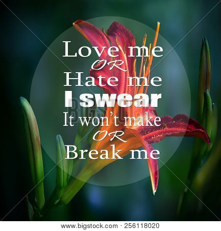 Inspirational Quotes: Love Me Or Hate Me I Swear It Won't Make Or Break Me, Positive, Motivational,