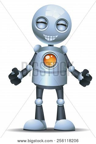 Illustration Of A Little Robot Emotion In Grinning Face On Isolated White Background