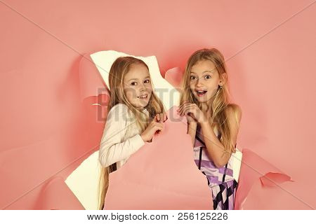 Fashion And Beauty, Little Princess. Children Girls In Dress, Family, Sisters. Family Fashion Model