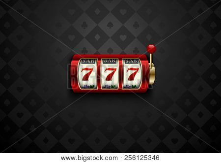Vector Red Casino Slot Machine With Lucky Seven . Dark Silk Geometric Card Suits Background. Online