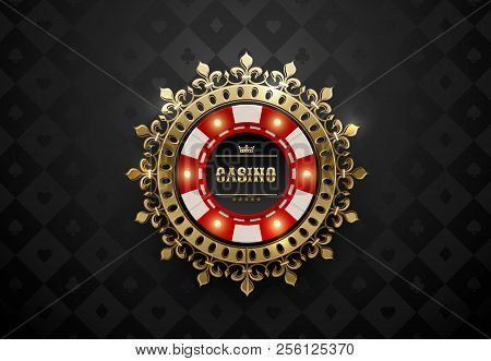Vector Red White Casino Poker Chip With Luminous Light Elements And Golden Crown Wreath Frame. Black