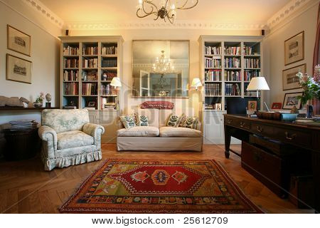 Luxury and classic style living room with bookshelf